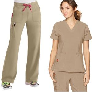 Carhartt Cross Flex Khaki Scrub Set sz XS Tall
